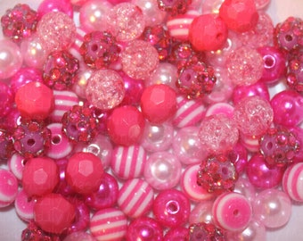 10mm Hot pink and light pink bead mix 100 beads