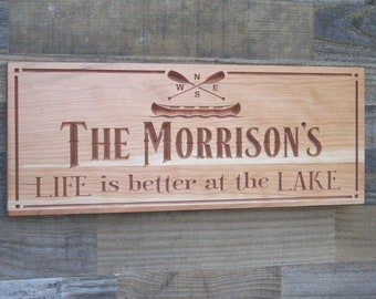 Sign For Lake House, Cabin Sign, Lakehouse Sign, Lodge Decor, Custom Lake House Signs, Benchmark Signs, Cherry TK