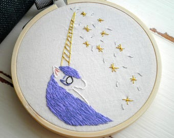 Embroidered Unicorn Hoop Art - Hand Stitched White Unicorn w/ Purple Hair + Golden Horn & Stars - Modern Embroidery Wall Art Wanderlust Gift