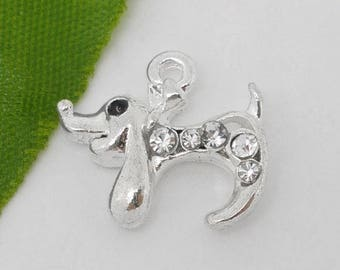 x 1 dog pendant charm silver metal with Crystal rhinestones.