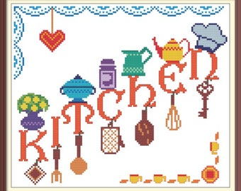 Kitchen Modern Cross Stitch Pattern PDF Chart Colorful Kitchenware Font