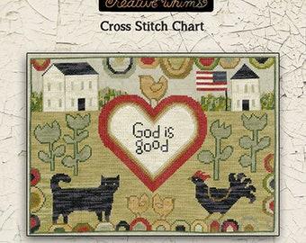 Cat | Chicken | Christmas | Cross Stitch Chart | Downloadable PDF | EPattern | Needlework | DIY | Crafts | God is Good | XS178