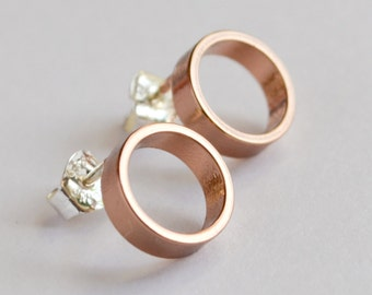 Rose Gold Circle Stud Earrings - Pastel Pink Open Circle Modern Geometric Jewelry - Rose Gold Circle Earrings - Faux Hoops by HookAndMatter