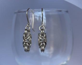 Handmade sterling silver Byzantine earrings