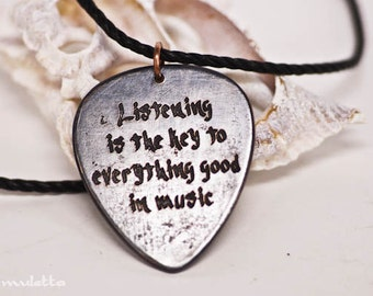 Listening is the key everything good in music- guitar quotes jewelry - gifts for boyfriend, son, dad