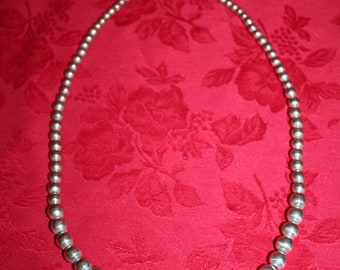 "Sterling Silver Graduated 25"" Ball Bead Necklace"