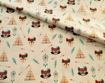 Tipi print cotton fabric and funny animals