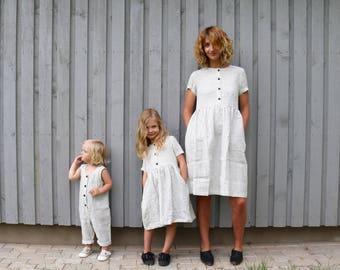 Matching Dress - Linen Dress - Matching Mommy and Me Striped Dresses - Matching Linen Outfit - Handmade by OFFON
