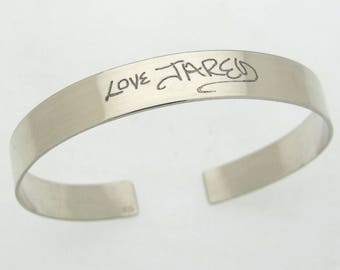 Handwriting Bracelet for Him, Mens Personalized cuff, Signature bracelet of a loved one, Custom memorial bracelet, Mens Sterling Silver Cuff