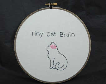 Tiny Cat Brain Embroidered Hoop Art