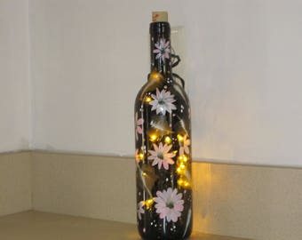 Wine bottle hand painted with Daisies green leaves lights inside. great Birthday, Anniversary, Housewarming gift, gift for her, Teacher