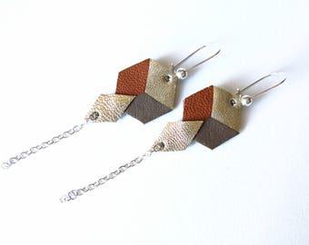 Geometric Leather Earrings, Hexagon, Rhombus, Camel Taupe Gold