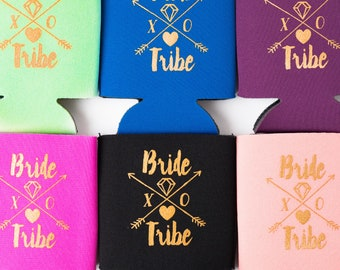 Bride Tribe Drink Coolers  | Boho Bachelorette Party Favors, Metallic Gold Arrow Bride Tribe Drink Cooler Favors, Beer Bottle Can Holders
