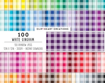 100 gingham pattern paper, Digital paper, Commercial use, Rainbow color, Instant download, Digital scrap booking paper, Colorful paper