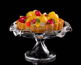 Dollhouse Miniatures Peach and Strawberry Fruit Tart on Scallop Edge Glass Bakery Stand