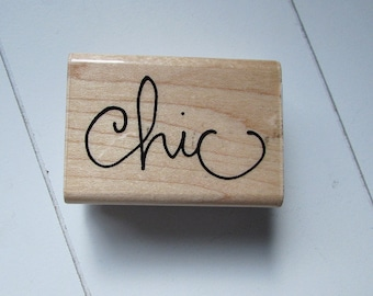 Wood mounted word stamp