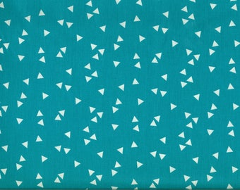 Turquoise blue fabric white triangles