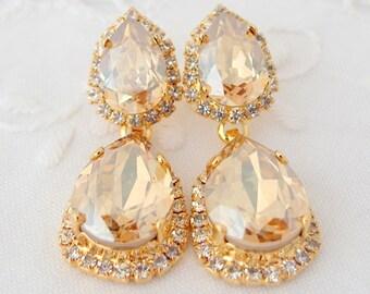 Champagne earrings,champagne Chandelier earrings, Bridal earrings, Bridesmaids gifts, Estate jewelry, Dangle earrings, Drop earrings