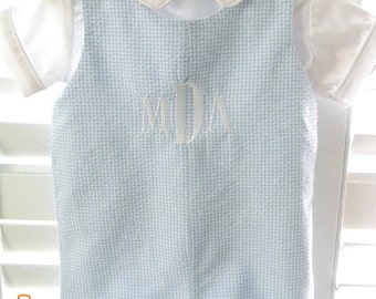 Boys Monogrammed Romper / Outfit / Jon Jon / Blue Gingham / Personalized / Baby Boy / Embroidery