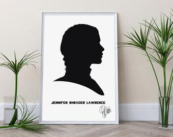 Hunger Games Katniss Everdeen Jennifer Lawrence Silhouette Black and White Mockingjay gift Hunger Games print Hunger Games decor Wall art