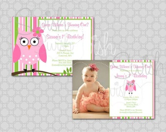 Owl Birthday Invitation - First Birthday - Photo Owl Birthday Look Whoo's One - Cute wide eyed owl