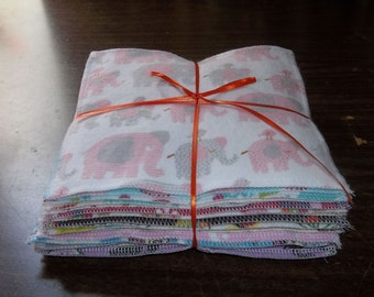 Cloth baby wipes 24 different patterns for girls made with 2 layers of 100% cotton flannel