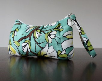 PLEATED WRISTLET in Magnolia Branch Aqua by Michael Miller. Teal, Green and Floral Pattern. Van Gogh Almond Blossoms Vibes.