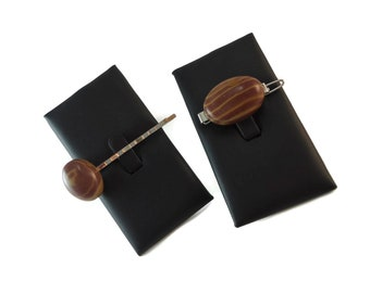 Brown Stone Barrette and Bobby Pin Set, Natural Stone Hair Accessories, Set of Two Tone Brown Rock Hair Clips for Women