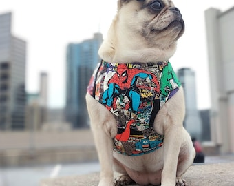 Black Comic Book Heroes Dog Harness, Available for Large & Small Dogs; Handcrafted by Nerdy Pug Studios in Atlanta, Georgia