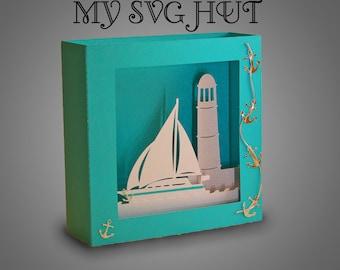 3D Seaside theme Box card Dsvg pdf cricut studio