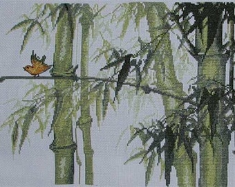 New Finished Completed Cross Stitch - Bamboo forest - C49
