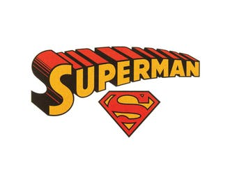 Superman Iron On Applique,, Glitter Patch Superman Patch, Genuine DC Comics Iron On Patch, Superman Applique, Embroidered Patch, Kids Patch