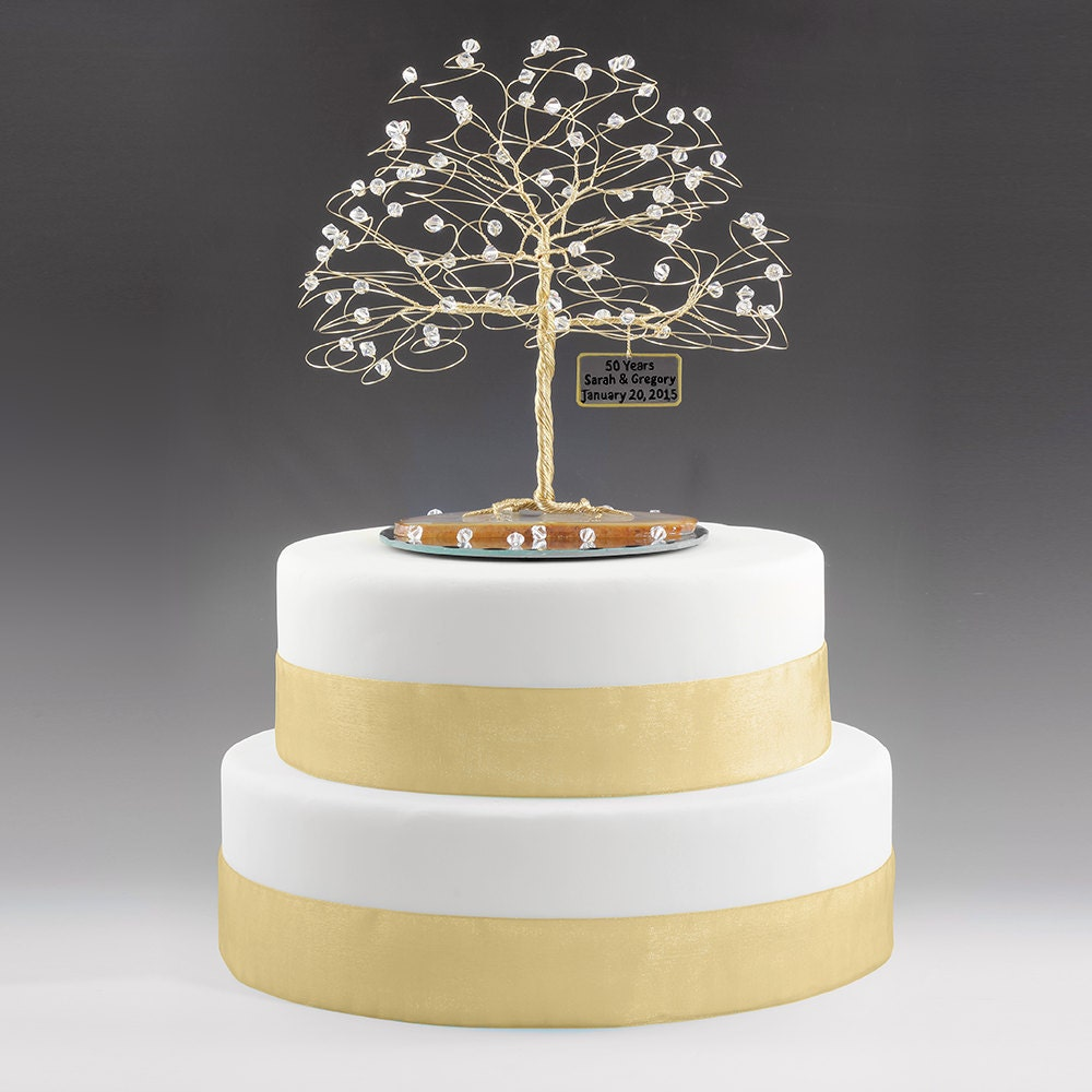 50th wedding cake tops personalized 50th anniversary cake topper tree gift idea clear 10445