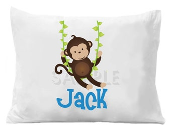 Personalized Pillow Case Monkey Personalized Pillowcase Boys or Girls