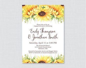 Sunflower Engagement Party Invitation Printable or Printed - Rustic Sunflower Engagement Party Invitations, Yellow Engagement Invites 0016-A