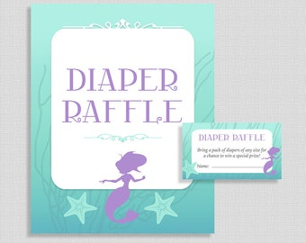 Baby Shower Diaper Raffle Tickets & Sign, Mermaid Shower, Baby Girl, Aqua and Purple Invite Insert, INSTANT PRINTABLE
