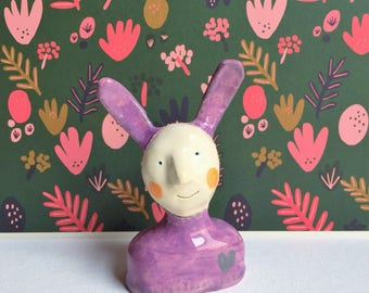 ceramic love rabbit figurine -- quirky bunny ornament with heart