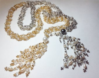 Silver 24kt Gold Seedbeads Beadwoven Pearl and Clear Swarovski Crystal Long Lariat Statement Necklace--Midas Touch II--by Lady Grey Beads