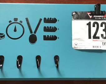 Running Medal Holder Race Bib Display, LOVE, Ready to Ship