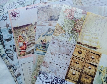 Prima Marketing scrapbook paper- French Riviera- 12 x 12 inch- 6 double sided sheets- perfect for Journals- Note books- Travel note books