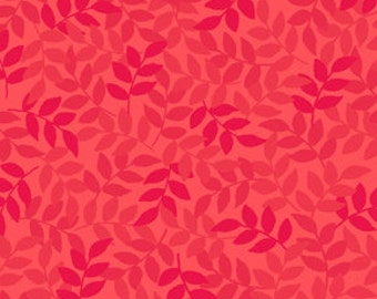Leaf Geranium Red Harmony Flannel Quilting Treasures Fabric 1 yard