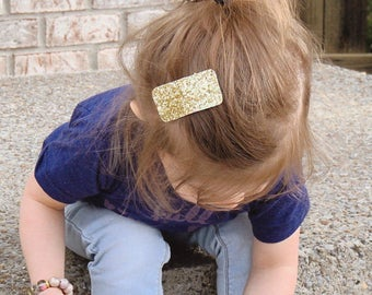 Toddler Girl's Gold Glitter Snap Clip | Glitter Glam Barrette | Large Gold Snap Clip | Valentines Day Snap Clips