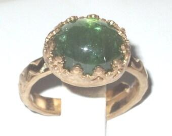 Extraordinary green Tourmaline gemstone Ring - birthstone - Promise Ring  - textured ring - Gold Ring - vermeil - vintage ring - bridal ring