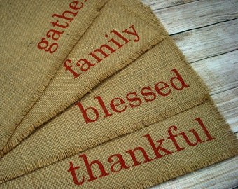 Thanksgiving Placemats Burlap Placemats (4) Reversible Placemats, Hand Painted Lettered Table Mats Farmhouse Decor Place Mats