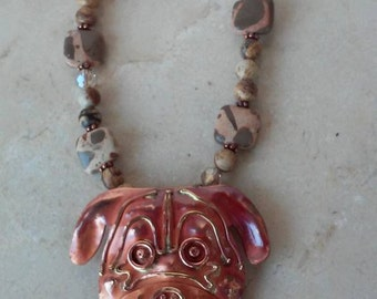 Boxer dog necklace, handcrafted gemstone necklace with copper dog pendant, jewelry for dog lovers, chunky necklace, rustic necklace