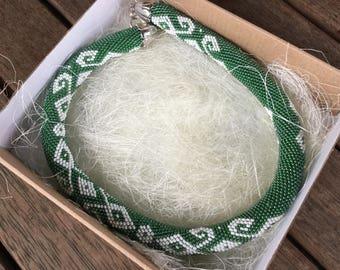 Handmade Beaded Necklace with Box Ukrainian Green White Ethnic Jewelry Boho Style