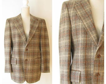Vintage Plaid Wool Sport Coat/ Brown Tan Plaid Sport Coat Blazer