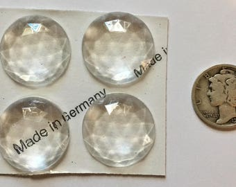 Four (4) 20mm Faceted Glass Jewels for Stained Glass and Lead