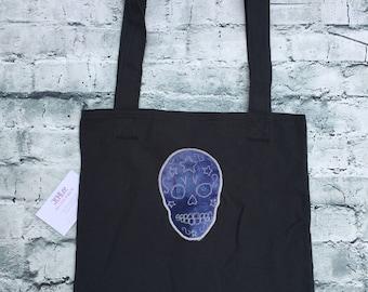 Tote bag, Shopping bag,Black Sugar Skull tote bag, shoulder bag, recyclable.