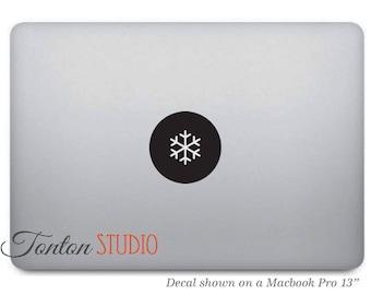 Snowflake Macbook Decal / Snowflake Sticker / Snowflake Decal / Snowflake Icon Sticker - Laptop Notebook Round Circle Removable Vinyl - T032